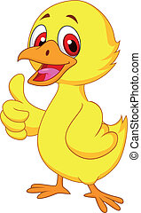 Cute baby chicken with thumb up - Vector illustration of...