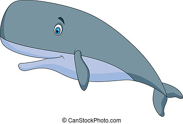 Cute sperm whale cartoon - Vector illustration of Cute sperm...