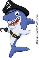 Cute pirate shark cartoon - Vector illustration of Cute...