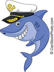 Shark captain cartoon - Vector illustration of Shark captain...