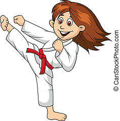 Girl cartoon doing martial art - Vector illustration of Girl...