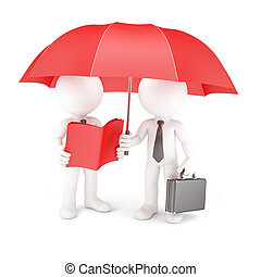 Group of business people with umbrella and manual. Isolated...