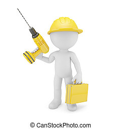 Worker with drill Isolated on white