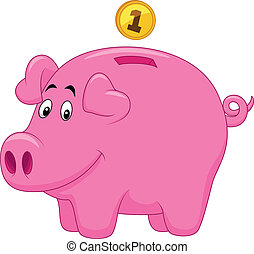 Piggy bank cartoon - Vector illustration of Piggy bank...