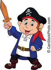 Pirate boy cartoon - Vector illustration of Pirate boy...
