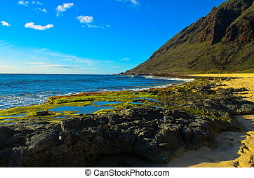 Rocky south shore Oahu - A view of the rocky south shore of...
