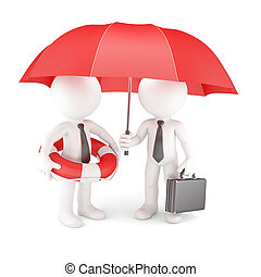 Business team with umbrella and life buoy Business safety...