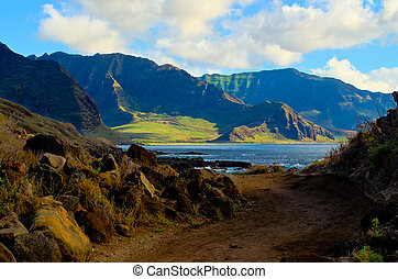 South shore of Oahu Hawaii - A view of the south shore of...
