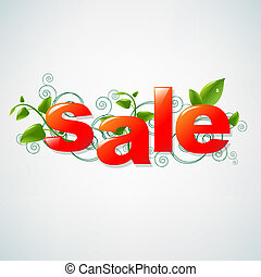 Sale Poster With Green Leaves