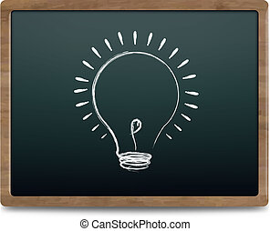 Black Chalk Board With Bulb Drawing Chalk, Vector...
