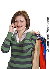 Shopping communication - Portrait of a young woman with...