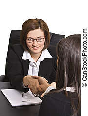 The deal - Businesswomen shaking hands in the office.