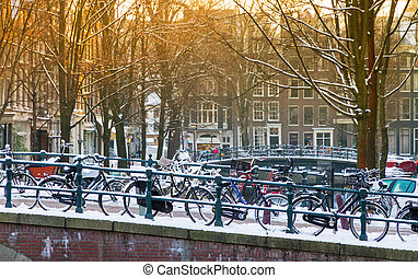 Amsterdam winter bridge