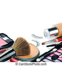 colorido, maquillaje, productos