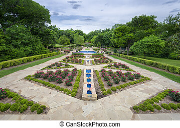 Rose Garden on a Cloudy Day - Beautifully landscaped urban...