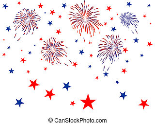 4th july independence day - Vector illustration of blue and...