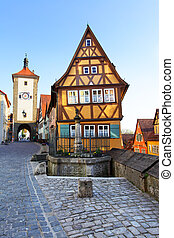 Rothenburg ob der Tauber - Old street in Rothenburg ob der...