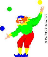 Happy clown juggling with balls