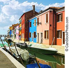 Burano village near Venise - Colorful buildings in Burano...