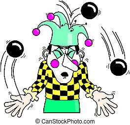 Cute funny clown juggling Vector illustration