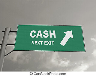A Notice Board On A National Highway Showing Cash Next Exit,...