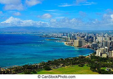 Honolulu Hawaii - A view from Diamond Head mountain of the...