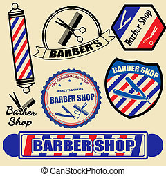 セット, 理髪師, 店, ラベル, スタンプ