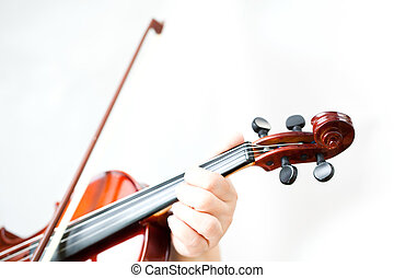 Violin - Woman hand with violin on white background