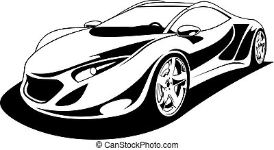 My original sport car design in black and white