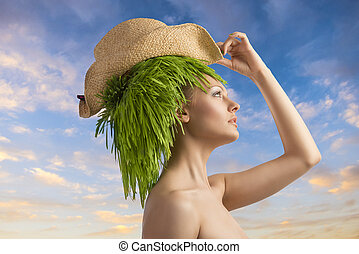 woman in profile with eco hair-style and hat - fresh...