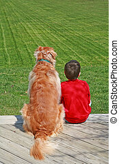 Boy and His Dog - Little Boy Sitting with His Dog