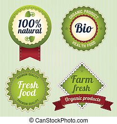 Bio Retro Labels set - Eco Retro Labels template set....