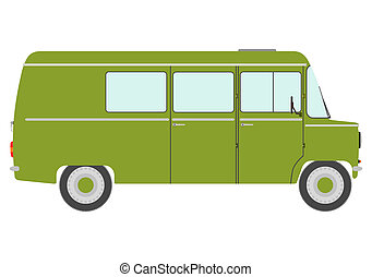 Vintage green van - The side silhouette of vintage green van...
