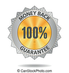 Money back guarantee sign - 100 percents Money back...