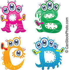 Cartoon monster letters from A to D - The collection of...