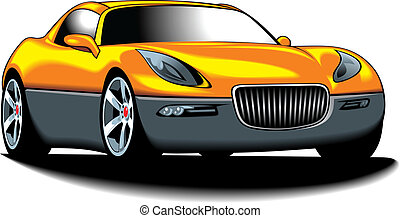 my original sport car my design in yellow color isolated on...