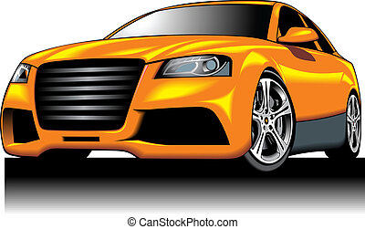 my original sport car (my design) in yellow color isolated...