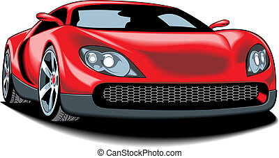 my original sport car (my design) in red color isolated on...