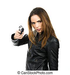 jovem, bonito, mulher, segurando, arma, branca, fundo