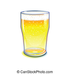 Beer pint glass - Pint glass with light beer, isolated