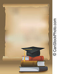Graduation background with books and mortarboard cap...