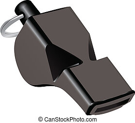 Referee whistle of black plastic. Vector illustration.