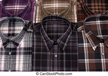 Casual mens shirt with a checked pattern