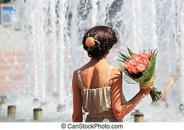 niña, Moda, flores, ramo