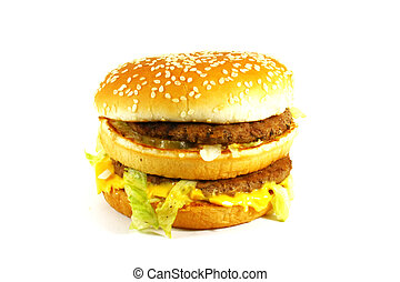 Big Juicy Hamburger On a White Background