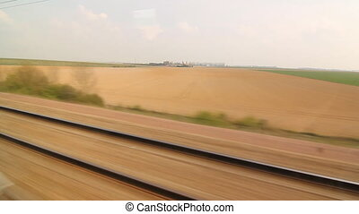 Eurostar in French countryside.