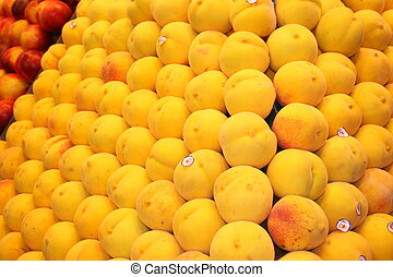 Peach - Alot of peaches on stand in Market in Spain