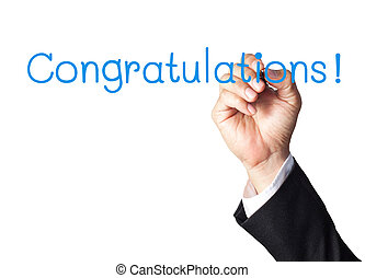 businessman hand writing congratulations on white board