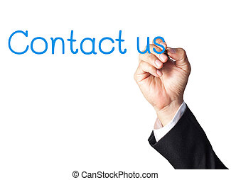 businessman hand writing contact us on whiteboard