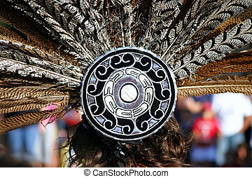 Feather Headdress - Feather headdress of an Inca woman at a...